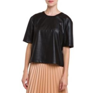BCBGMaxAzria Micah Relaxed Faux Leather Top